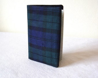 Tartan Passport Cover / holder in Black Watch Tartan / Plaid Fabric in Black, Green, Navy Wool like Polyviscose - Handmade in Scotland