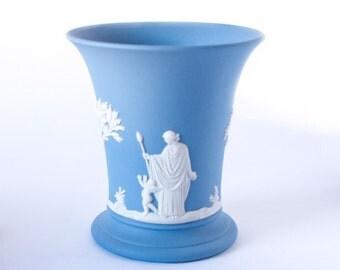 Wedgwood Jasperware Vase 1960's White Bas-Relief Wedgwood Classic Sacrifice Cameos on Matte Blue Jasperware Flared Posy Vase / Wedgwood Vase