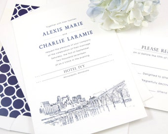 Minneapolis Skyline Hand Drawn Wedding Invitation Package (Sold in Sets of 10 Invitations, RSVP Cards + Envelopes)