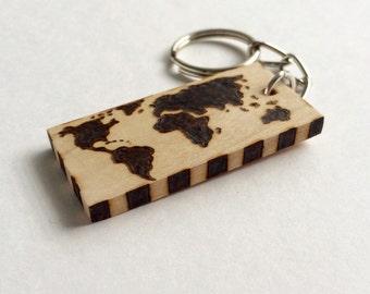 World Map Mundi Map Wooden Keychain Wood Burned Rustic Keychain