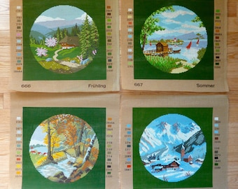Lot of 4 Needlepoint Canvas - The Four Seasons - Spring, Summer, Autumn, Winter - Cotton Canvas