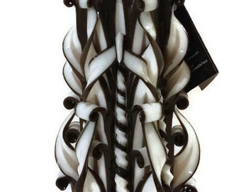 Black Candle White Candle Black and White Unique Gift Handcarved Ideal Home Decor Centrepiece