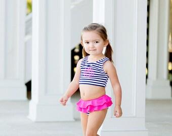 Youth Girls Swimsuit/Girls Swimwear/Bikini swimsuit/Monogram kids swimsuits