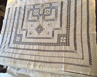 """Antique 1900 Edwardian Bedspread counterpane tablecloth bedcover 96"""" by 79"""" white For home decor"""