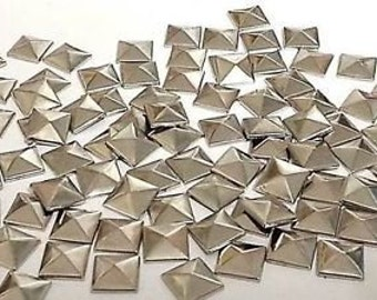 100 Metal 7mm Silver Hot Fix Pyramid Studs Stick on Embellishments, Punk, Goth, DIY Fashion by Craftbuddy US