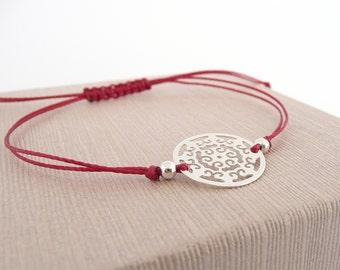 Sterling Silver Mandala Bracelet, Friendship Cord Bracelet, Mandala Bracelet, Sterling Silver or Gold Vermeil Bracelet, Dainty Bracelet