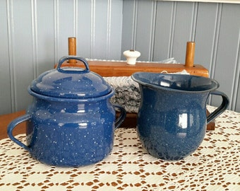 Enamelware Cream and Sugar, Blue Speckled Enamelware, Vintage Kitchen, Camping Gear, Farmhouse