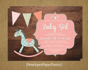 Rustic Baby Girl Shower Invitations,Rocking Horse Theme,Wood Background,Adorable,Personalize,Printed Cards,Customizable,With White Envelopes
