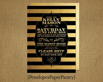 Elegant Graduation Invitation and Graduation Announcement, Black and Gold, Stripes, High School or College,Opt Back Print, Customizable