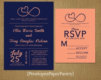 Navy and Peach Wedding Invitations,Infinity Love Symbol,Romantic,Shimmery,Elegant,Traditional,Opt RSVP, Customizable with Envelopes