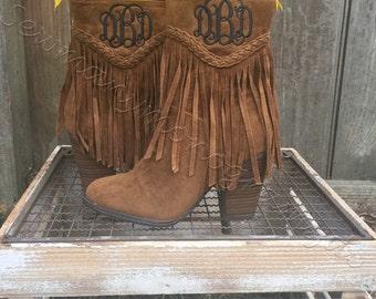 Monogrammed fringe heel boots