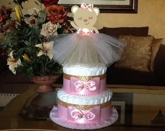 Ballerina diaper cake/Ballerina bear diaper cake/ Pink and gold baby centerpiece/Ballerina baby shower centerpiece/Girl diaper cake