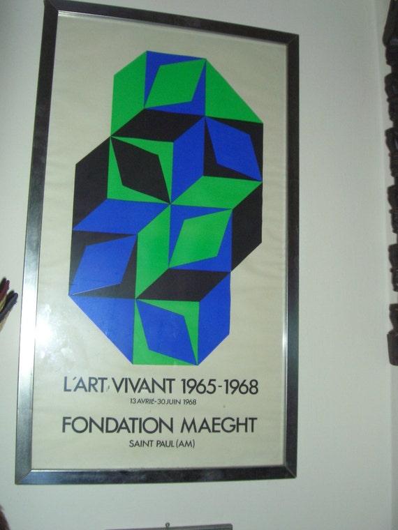 1960s Mid century Victor Vasarely Foundation Maeght LArt Vivant exhibition Poster