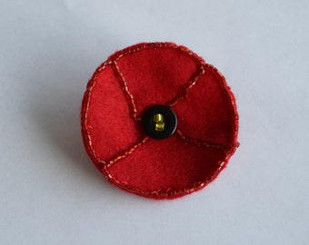 Red Remembrance Beaded Felt Poppy Brooch