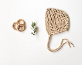Classic Cotton Baby Bonnet // crochet bonnet, cotton bonnet, baby bonnet, baby hat