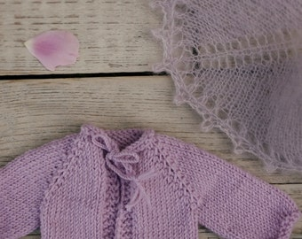 """Knit cardigan and shawl for 10/11/12"""" doll"""