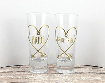 Bride Tribe Shot Glasses - Bridal Party - Bachelorette Party Favors - Bachelorette Party - Personalized Shot Glasses - Gifts - Shot Glass