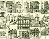 1897 Habitation Homes Print, Architecture, Large size, Houses, Larousse French Print, 115 years old