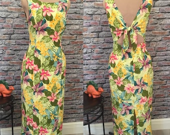 Vintage Tropical Silk Floral Maxi Dress Womens Size 8