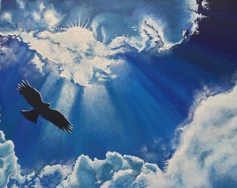 Original acrylic sky and bird painting. 'Soaring', Free UK delivery.