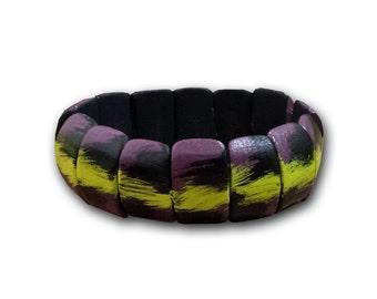 ON SALE ! Elastic Wood bangle, Black , lemon and violet wood bangle / Bracelet elastique en bois, bracelet Noir, lime et violet