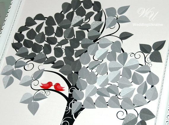 two hearts one love wedding decorations two hearts and birds tree wedding guest book ideas 3d 8138
