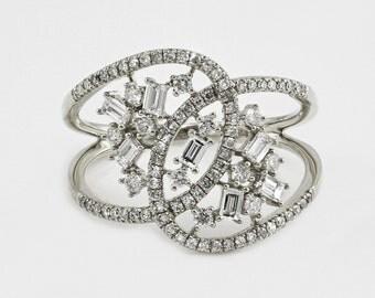 0.65ct Cluster Diamonds in 14K White Gold Infinity Design Ring - CUSTOM MADE