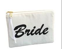 Bride pouch, bride purse, wedding gift, gold zip purse, zipper pouch, wedding present, bride clutch, bride makeup bag, bride zip bag