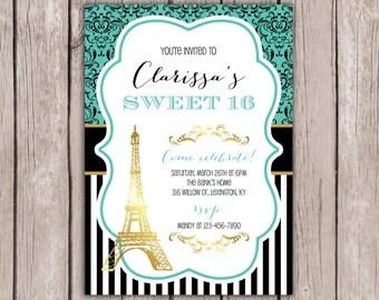 Sweet 16 Invitation- Paris Theme Birthday Party- Eiffel Tower Birthday Invite- Ooh La La Girls Invites- 5x7 JPG