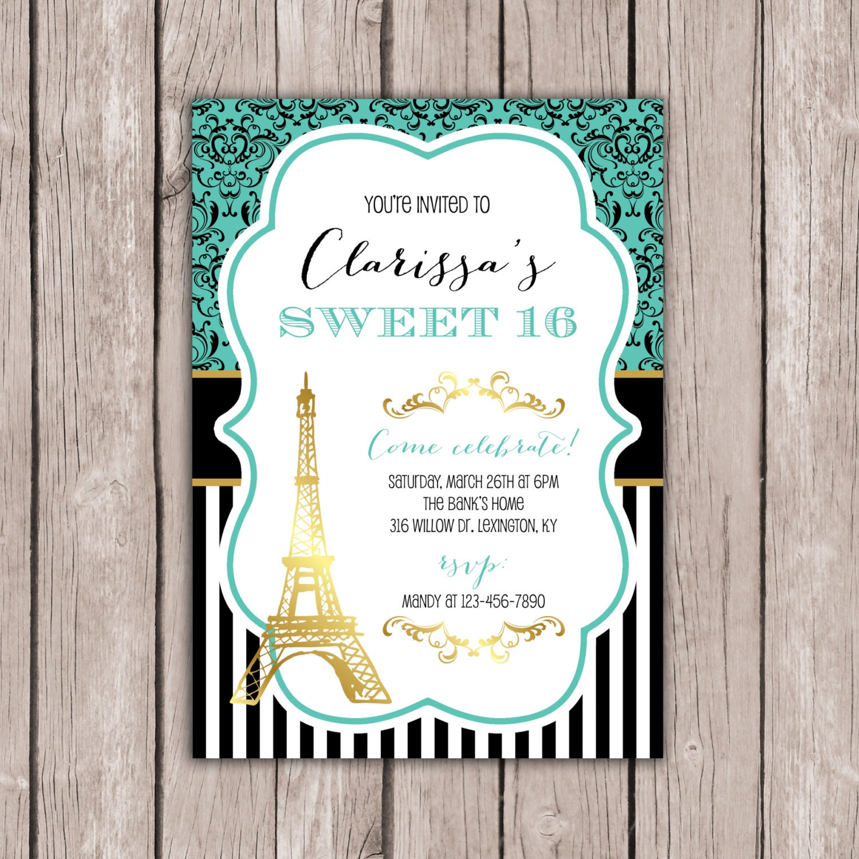 Sweet Invitation Paris Theme Birthday Party Eiffel Tower