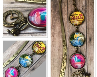 Alice in Wonderland Vintage Style Antique Alloy Metal Glass Cameo setting Bookmark Book mark.