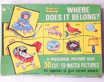 """Vintage Picture Quiz Game, Philmar """"Where Does it Belong"""" Preschool Picture Matching Game, Puzzle, Complete in Original Box, 1960s, 01045"""