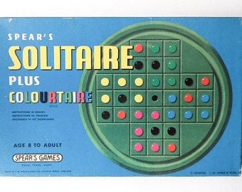 Original Spears Games Solitaire Game, Plus Colourtaire, Age 8 to Adult, Complete in Original Box, 1970, 00771