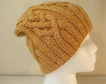 Cable Knit hat in Marigold