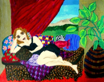 """GLORIA, Acrylic on 12 x 9"""" acrylic paper, Strawberry Blond woman resting on a settee, Naive Outsider Art, African American Art Stacey Torres"""