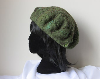 Green nuno felt beret with glass beads