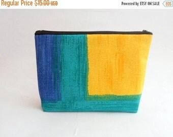 CLEARANCE Colorblock Canvas Pouch / Canvas Cosmetic Bag / Canvas Makeup Case / Color Block Zipper Pouch / Bright Cosmetic Case / Bright Canv