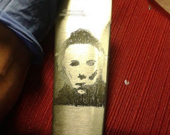 Michael Myers hand engraved chef knife