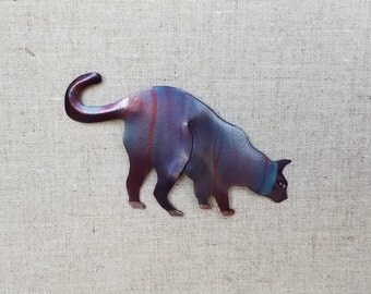 Flame painted copper cat, pin