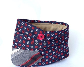 Upcycled blue and red catch all fabric bin / upcycled necktie fabric basket