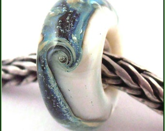 loversofbeads SRA artist handmade euro big hole - lampwork glass bead - lined with Sterling Silver - Made To Order - S692