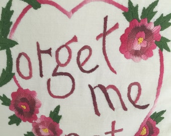 Darling vintage Forget-me-Not pillow~Hand Embroidered!