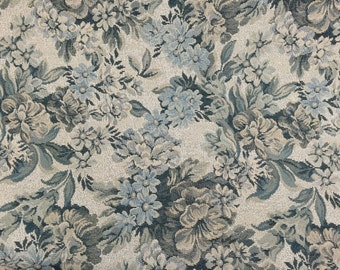 Blue Floral Tapestry Upholstery Fabric - Sold By The Yard - 57""