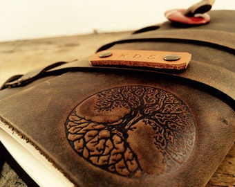 50% OFF Tree of Life Fire Branded Leather Journal....Refillable Notebook Made in Portland, Oregon...SALE TODAY!