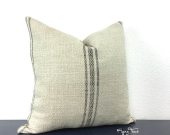 French Laundry Grain Sack Pillow Cover - Parisian Centered Black Stripes on Oatmeal -  Knife Edge -  Same Fabric Both Sides - Hidden Zipper