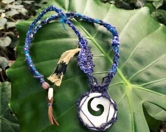 Indigo Vibration bone necklace