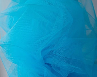"""Blue Tulle fabric Netting, under skirting Tutus Skirts, Garters, millinery Hats Christmas decoration Carnival 300cm 118""""  wide"""