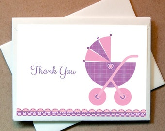 Baby Thank You Cards (24 cards and envelopes) Girls Baby Thank You