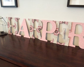 Fabric covered wooded letters- lots of fabric choices!