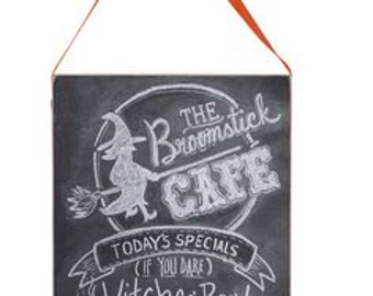 "11"" Broomstick Café-Chalk Sign/Witch Sign/Wreath Supplies/Halloween Decor/22568"